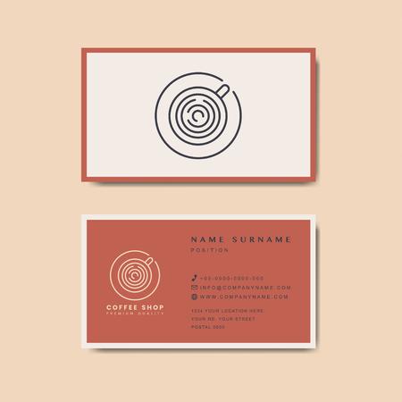 Coffee shop business card template vector Standard-Bild - 126453059