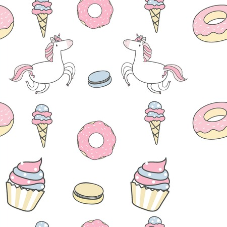 Unicorn seamless pattern background vector Çizim