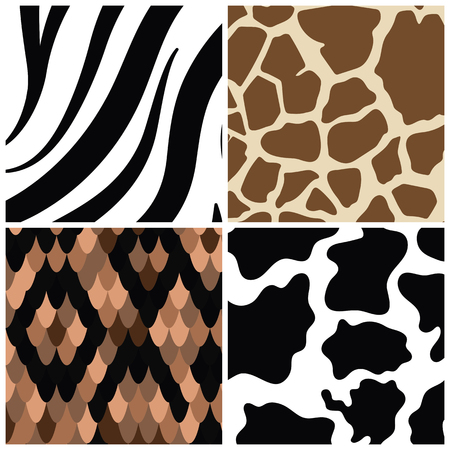 Set of seamless animal print pattern vectors Çizim