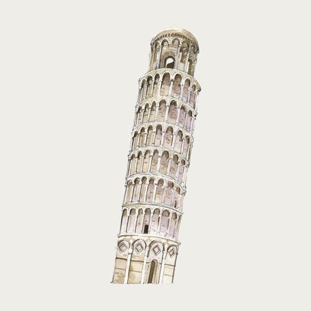 L'illustration aquarelle de la tour penchée de Pise