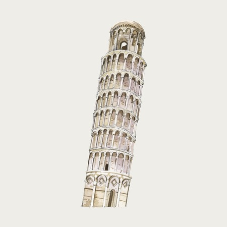 The Leaning Tower of Pisa watercolor illustration Vectores