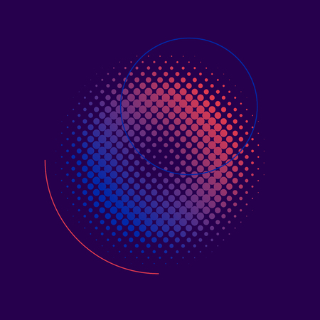 Purple and pink halftone badge vector Vetores