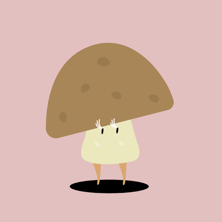 Organic mushroom cartoon character vector