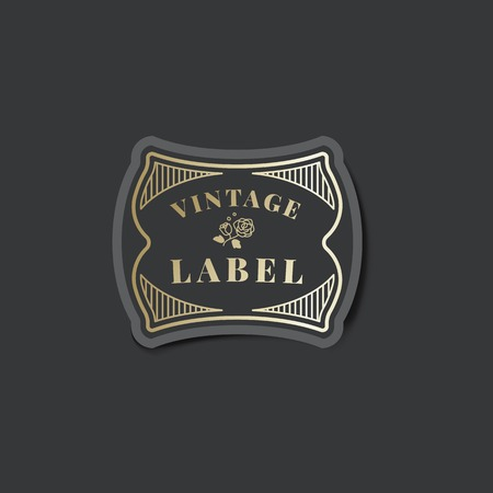 Vintage label sticker decorated with roses vector