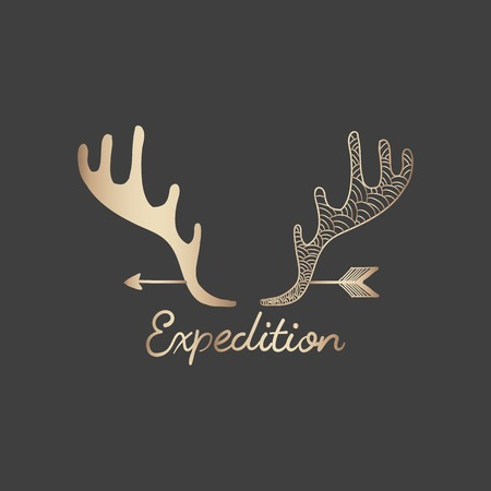 Expedition with a rose gold antler and arrow travel badge vector Ilustração