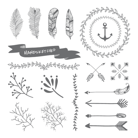 Gray hand sketched badges and banners ornaments vector set