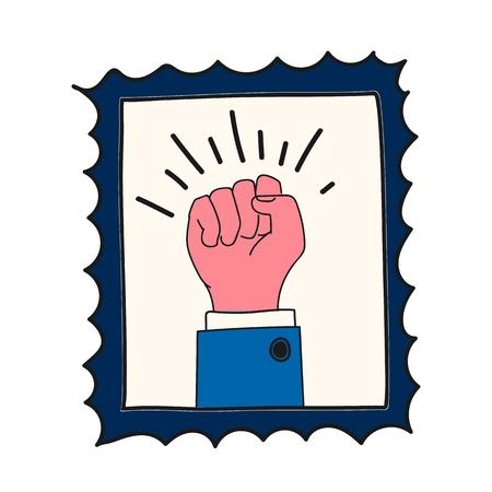 Poing dessiné à la main sur une illustration de timbre Vecteurs