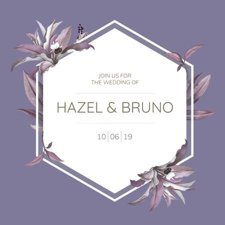 Wedding frame with purple leaves design vector Çizim