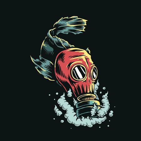 Peces con máscara de gas en agua contaminada ilustración