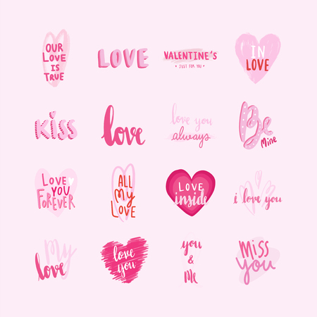 Collection of valentines day typographies Standard-Bild - 126453094