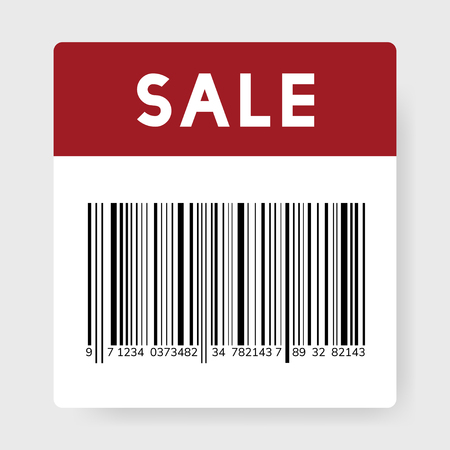 Sale black barcode icon vector