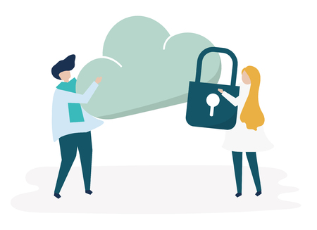 Characters of a couple and a cloud security illustration