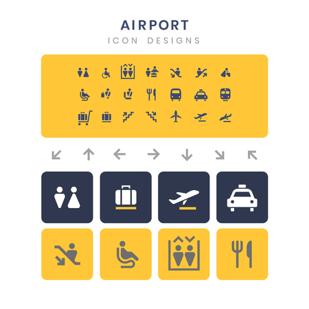 Airport service signs vector set Standard-Bild - 126453105