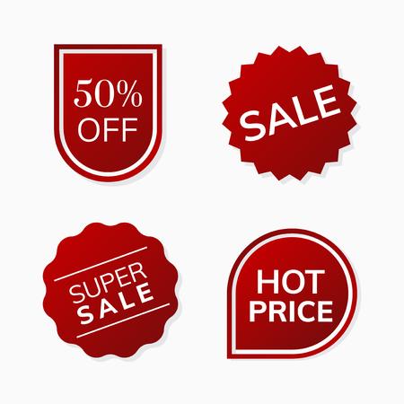 Shop sale promotion advertisement badges vector set Çizim