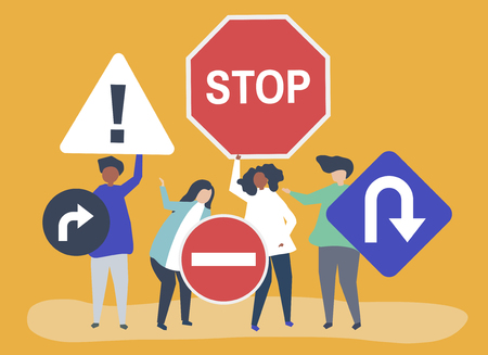 Character illustration of people with traffic sign icons Standard-Bild - 126453114