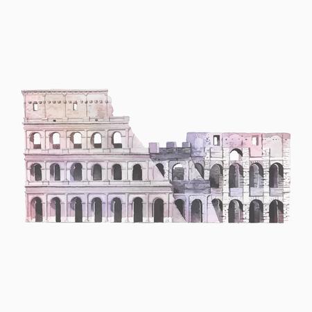 The Roman Colosseum in Rome watercolor illustration Illustration