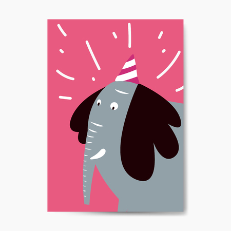 Blue elephant wearing a party hat vector graphic