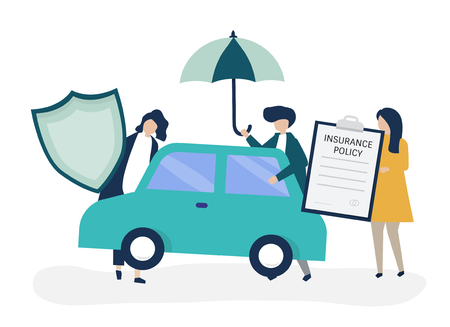 People with icons related to car insurance Ilustrace