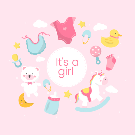 Its a girl baby shower card design