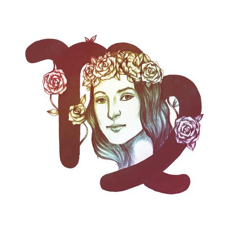 Hand drawn horoscope symbol of Virgo illustration Illustration