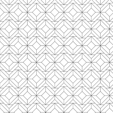 Black geometric seamless patterns set on a white background