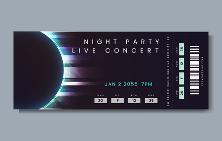 Night party live concert ticket vector Ilustracja