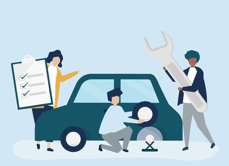 People exchanging a car tire Illustration