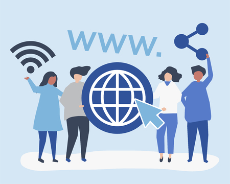 Character illustration of people holding world wide web icons Illustration