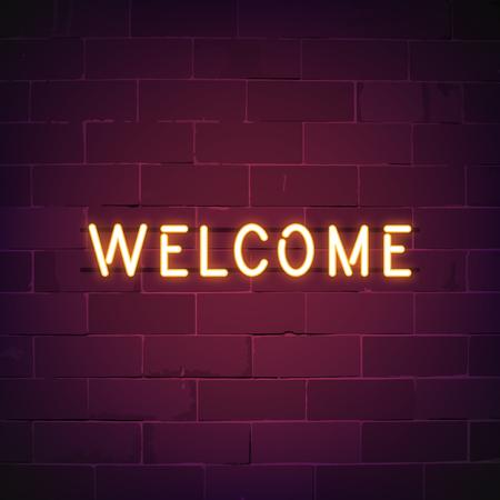 Welcome in neon sign vector