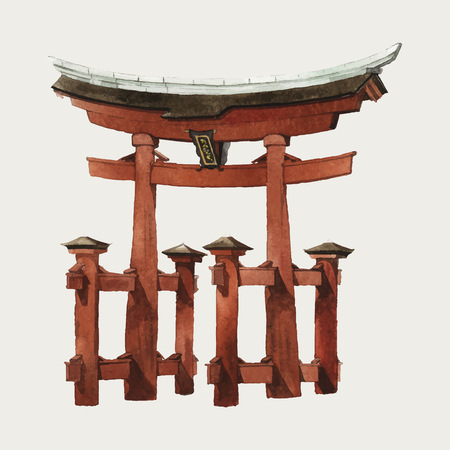 Japanese Torii gate watercolor illustration Illustration