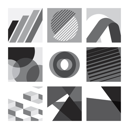 Black and white Swiss graphic design patterns collection