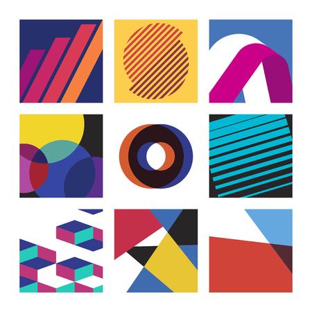 Colección colorida de patrones de diseño gráfico suizo