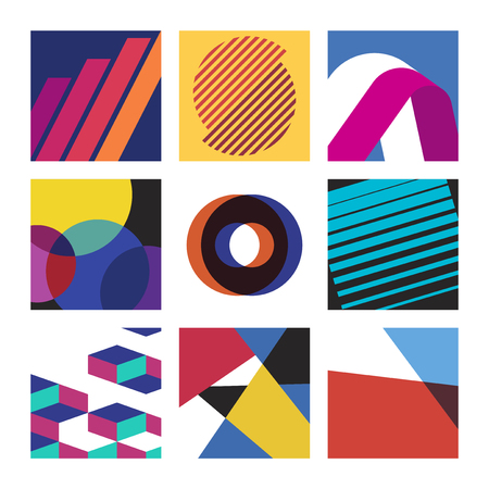 Colorful Swiss graphic design patterns collection 일러스트