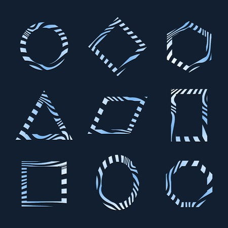 Set of blue abstract badge template vectors 版權商用圖片 - 115267002
