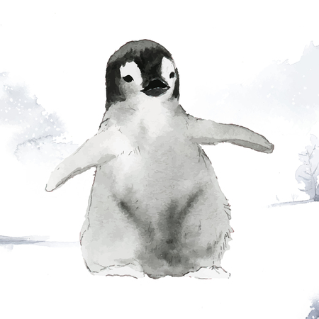 Young emperor penguin in the snow watercolor vector