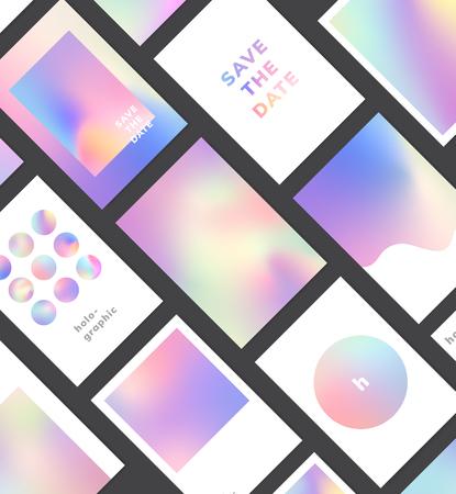 Colorful holographic gradient background design set
