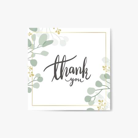 Foliage thank you card vector