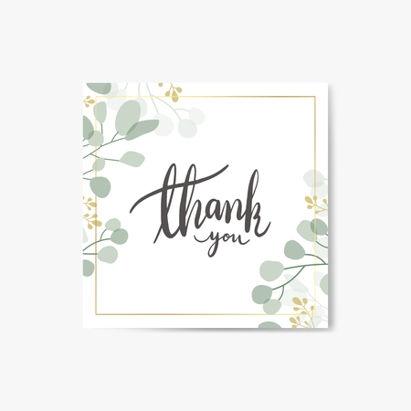 Foliage thank you card vector