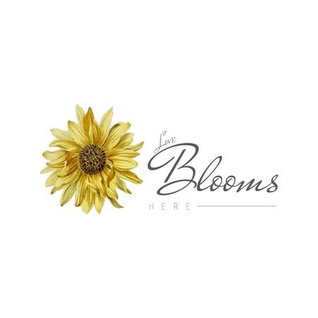 Love blooms here with sunflower vector Illustration
