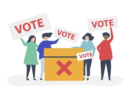 Illustrazione del personaggio di persone con icone di voto