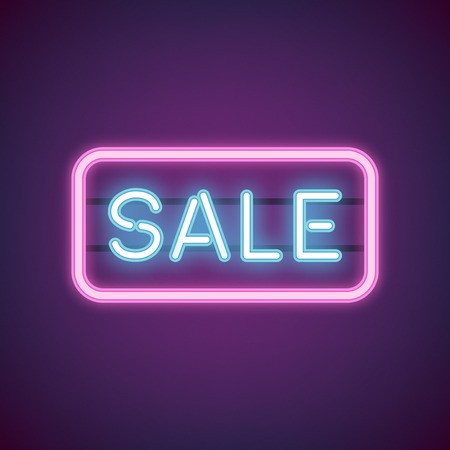 Blue sale neon sign vector
