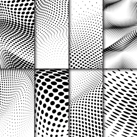 Black and white wavy halftone background vector set Stock Illustratie