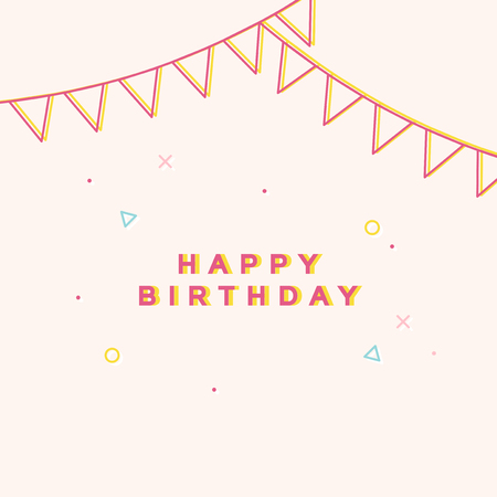 Birthday celebration greeting card with confetti vector