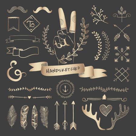 Mano de oro rosa bosquejó insignias y pancartas adornos conjunto de vectores