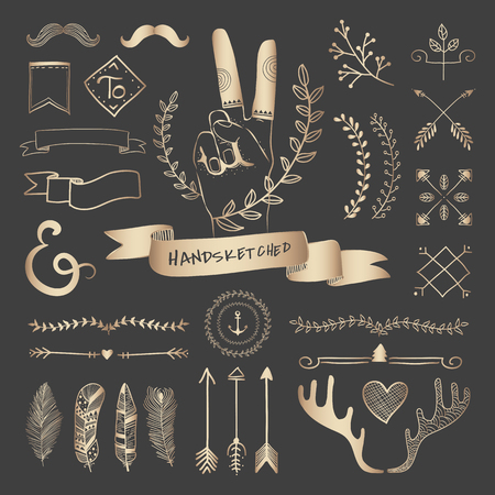 Rose gold hand sketched badges and banners ornaments vector set