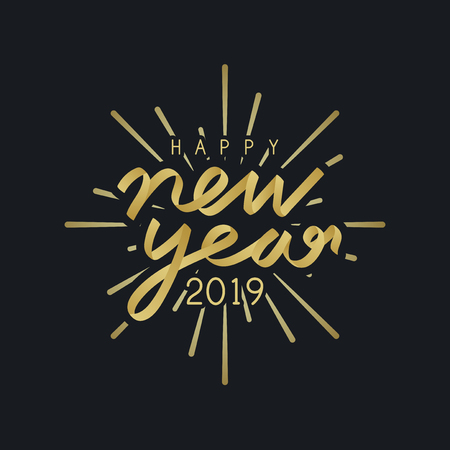 Happy new year 2019 badge vector Ilustração