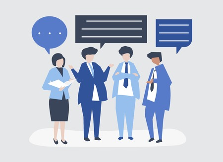 Character of business people having a discussion illustration Illustration