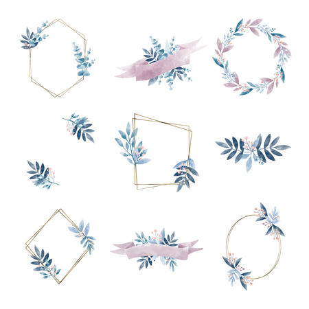 Set of geometric frame with leaves vector Illustration