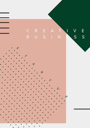 Minimal Memphis start-up business poster vector Illustration
