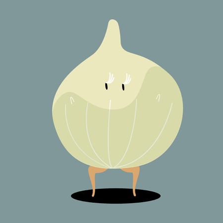 Organic onion cartoon character vector Illusztráció